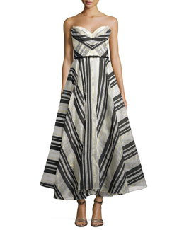 Strapless Striped Ball Gown
