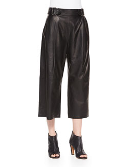 Tabor Leather Gaucho Pants, Black