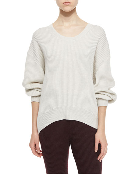 IRO Sevigny Ribbed Arched-Hem Sweater, Ecru