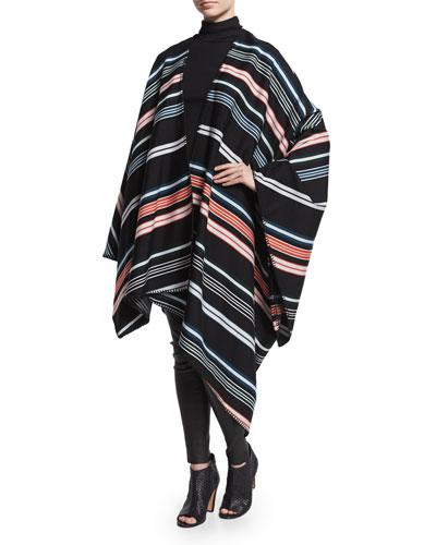 Striped Twill Oversize Poncho, Black