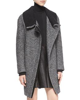 Shawl Collar Asymmetric-Zip Coat