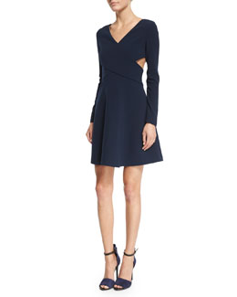 Long-Sleeve Crisscross Fit & Flare Dress