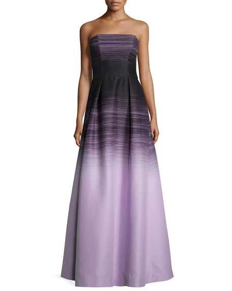 Halston Heritage Strapless Ombre Ball Gown