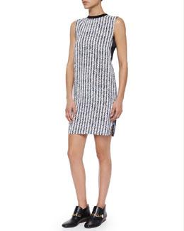 Sleeveless Crewneck Printed Shift dress