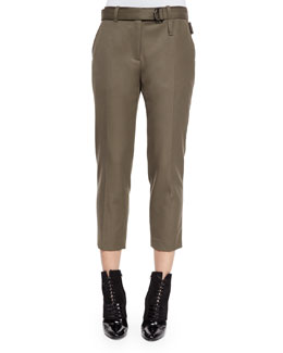 Cropped Wool Utility Pants, Olive