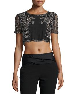 Embroidered Silk Crop Top, Black
