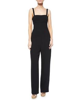 Back-Cutout Bandeau Jumpsuit, Black