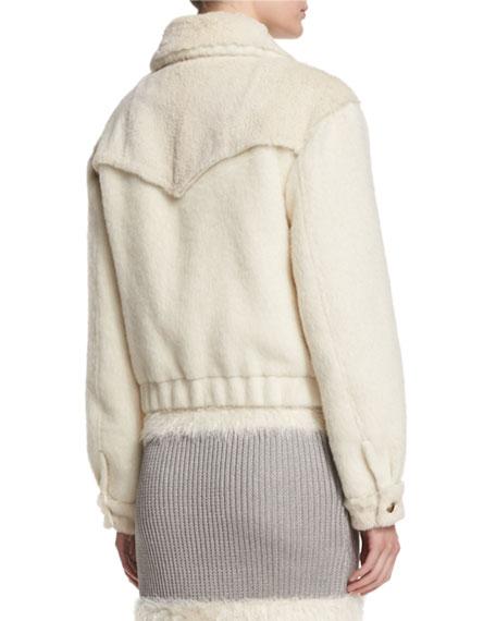Plush Zip-Front Bomber Jacket, Winter White