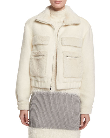 Plush Zip-Front Bomber Jacket, Winter White