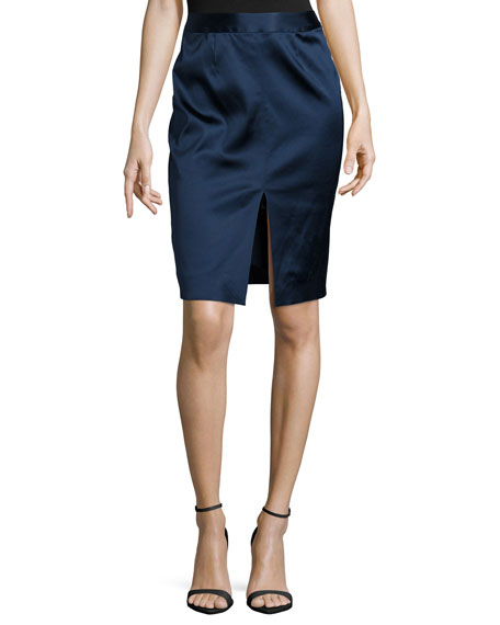 L'Agence Hanna Satin Pencil Skirt, Royal