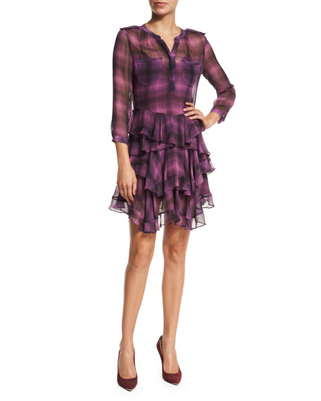 Long-Sleeve Plaid Ruffle Dress, Berry