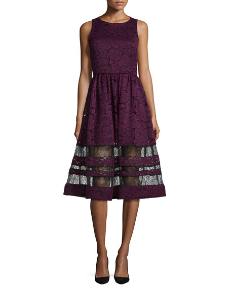 Alice + Olivia Odelia Sleeveless Lace Midi Dress,
