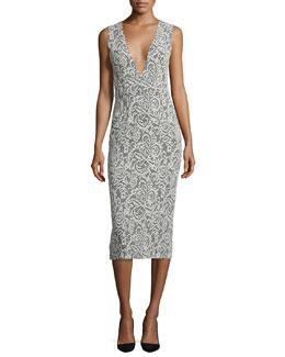 Lilia Sleeveless Lace-Print Midi Dress, Black/White