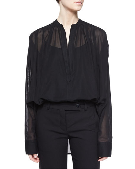 Poet Sheer Long-Sleeve Blouse