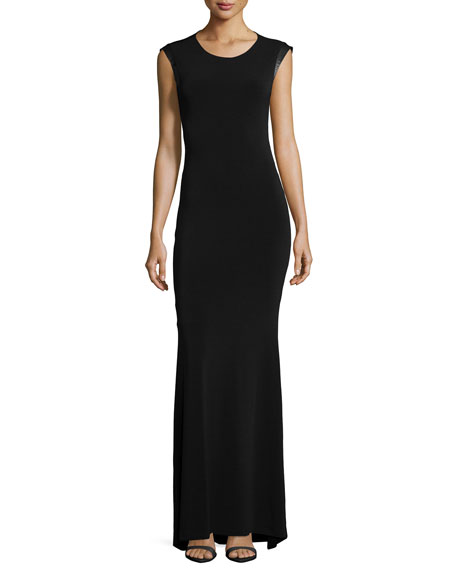 Alice + Olivia Leather-Trim Open-Back Maxi Dress, Black