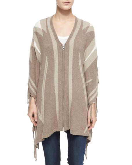 Ignacie Abstract Intarsia Zip Sweater