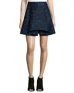 Scribbles Jacquard Skirt, Blue Multi