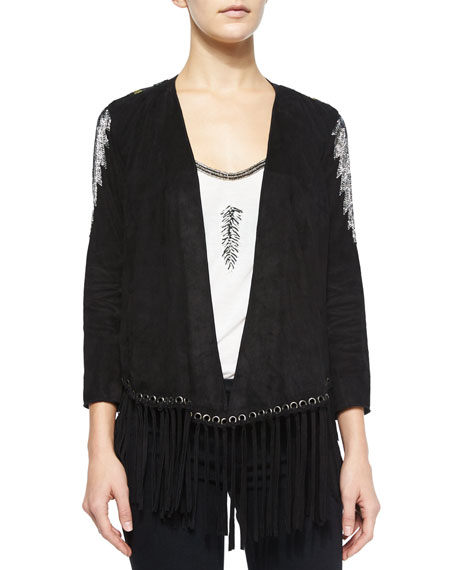 Haute Hippie Embellished Jacket w/Fringe, Black