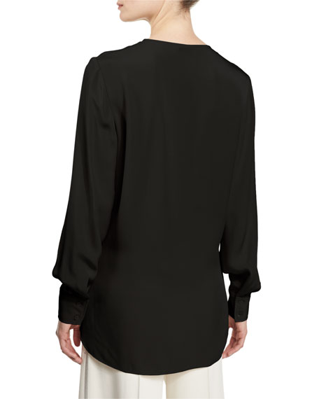 Long-Sleeve Crepe Tunic, Midnight Black