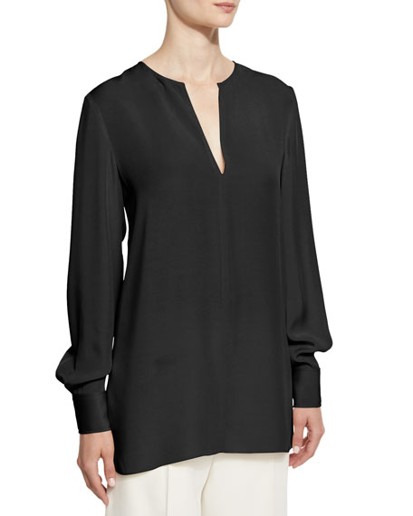 Joseph Long-Sleeve Crepe Tunic, Midnight Black