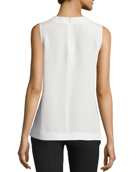 Hardy Sleeveless Silk Ruffle Blouse