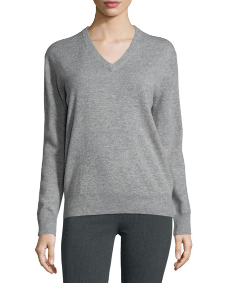 Cashmere V-Neck Pullover Sweater, Marble