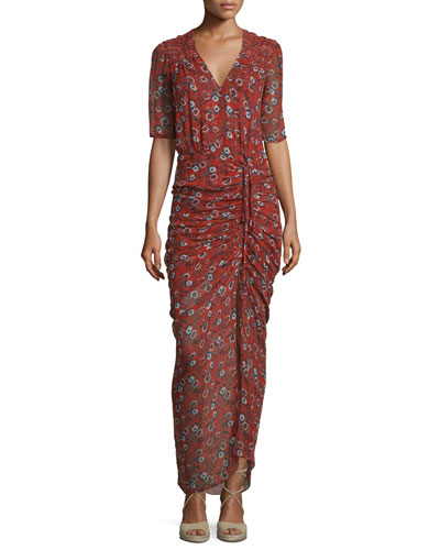 Mariposa Silk Ruched Printed Maxi Dress, Rust Floral