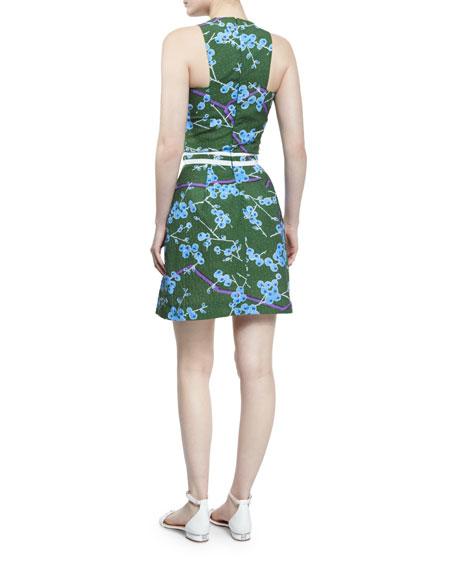 Sleeveless Floral Structured Dress, Vert