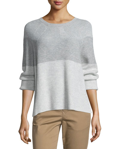 Colorblock Ribbed Cashmere-Blend Sweater