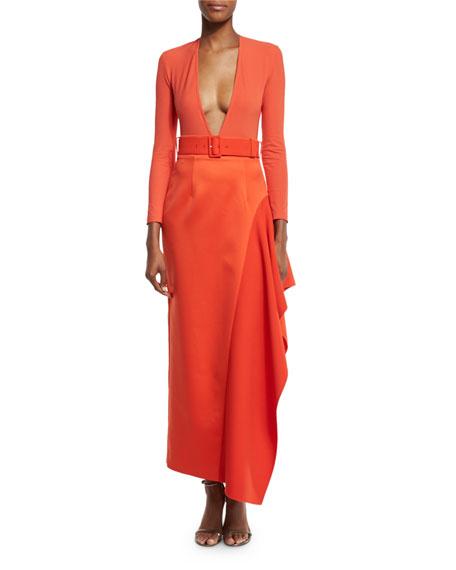 Amber Long-Sleeve Bodysuit, Red