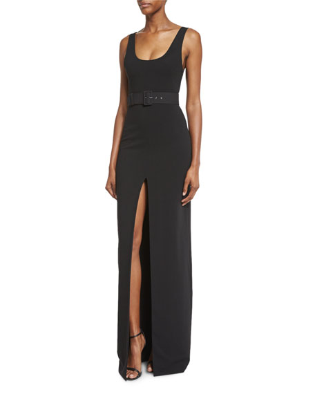 Solace London Tara Belted Stretch Crepe Maxi Dress,