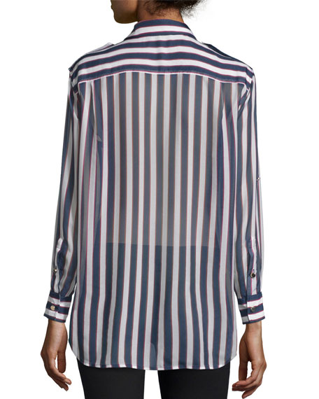 Major Striped Long-Sleeve Silk Shirt