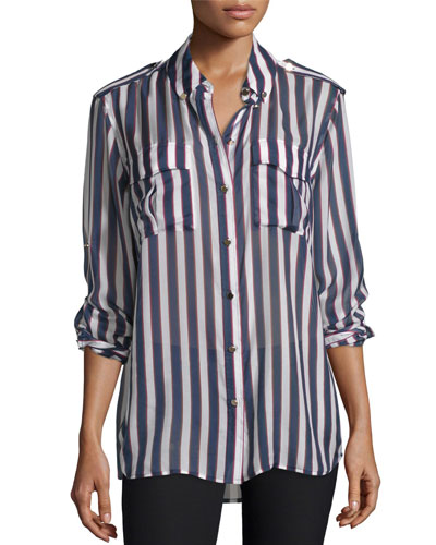 Major Striped Long-Sleeve Silk Shirt