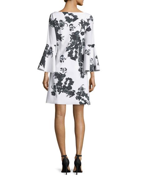 Bell-Sleeve Blossom Shift Dress, Black/White