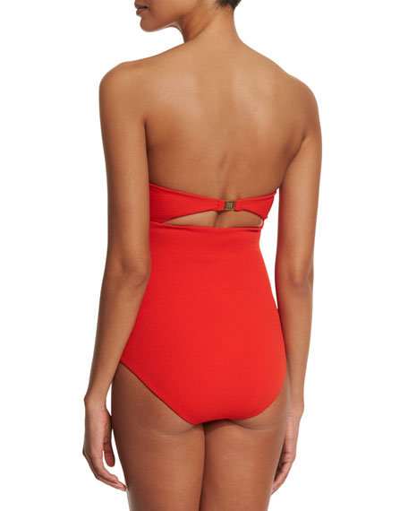 Antibes Scalloped One-Piece Swimsuit, Poppy Red