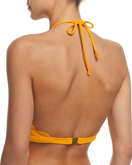 Mott Scalloped High-Neck Halter Swim Top