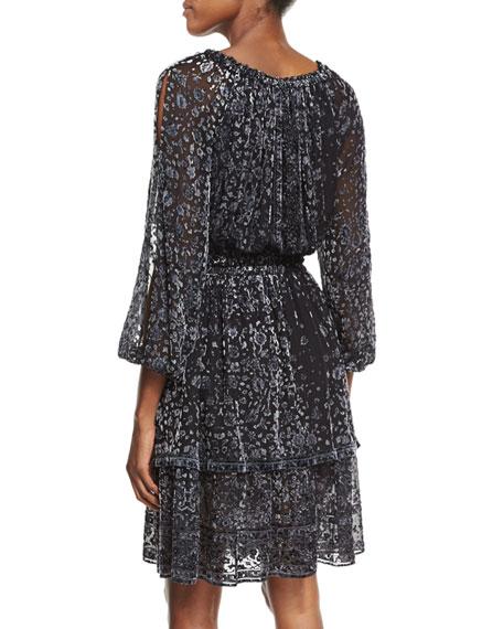 Olsen 3/4-Sleeve Semisheer Floral-Print Dress, Black Multi