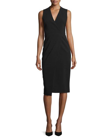 Carissa Sleeveless Faux-Wrap Dress, Black