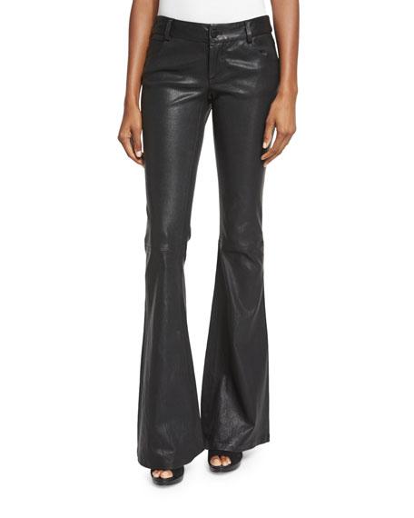 Leather Flare Pants, Black