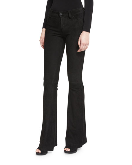 Alice + Olivia Suede Flare Pants, Black