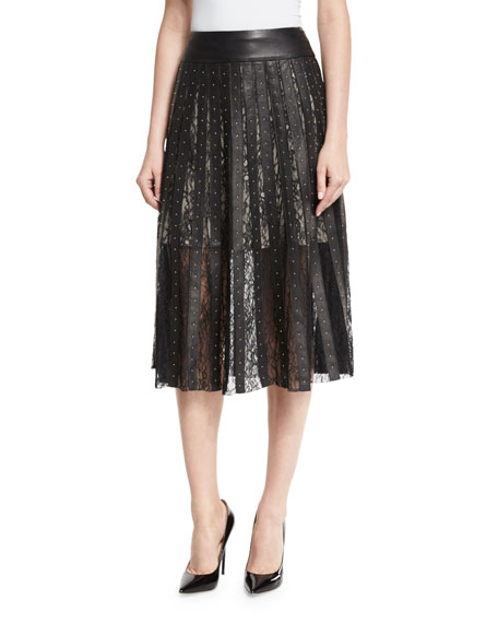 Tianna Studded Leather & Floral Lace Skirt, Black