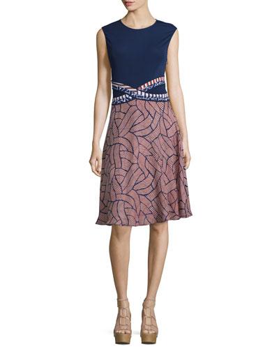 Rosalie Mixed-Print Fit & Flare Dress