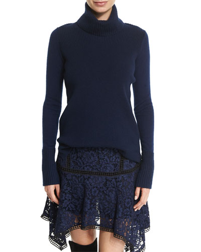 Asa Ribbed Cashmere Turtleneck Sweater, Navy