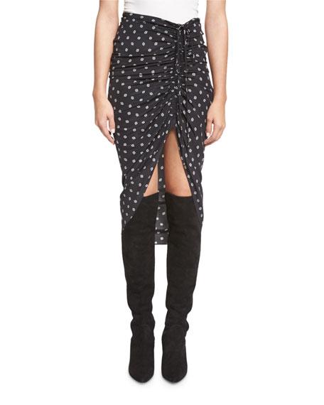 4658af0df629 Veronica Beard Ari Ruched Silk Polka-Dot Skirt, Black