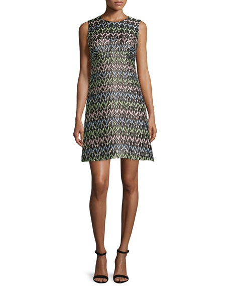 A-Line Chevron Brocade Mini Dress, Multi