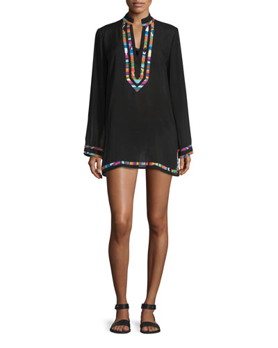 Mambo Embroidered-Trim Long-Sleeve Tunic Coverup
