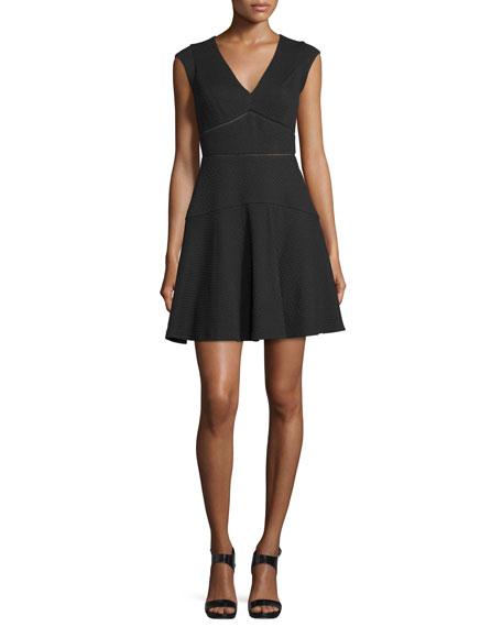 Taylor Cap-Sleeve V-Neck Dress