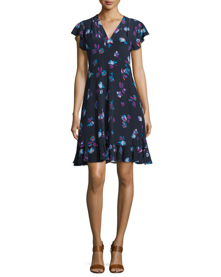 0cec2f64a90 Rebecca Taylor Floral-Print Silk V-Neck Dress