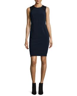 Sleeveless Lace-Trim Shift Dress, Navy