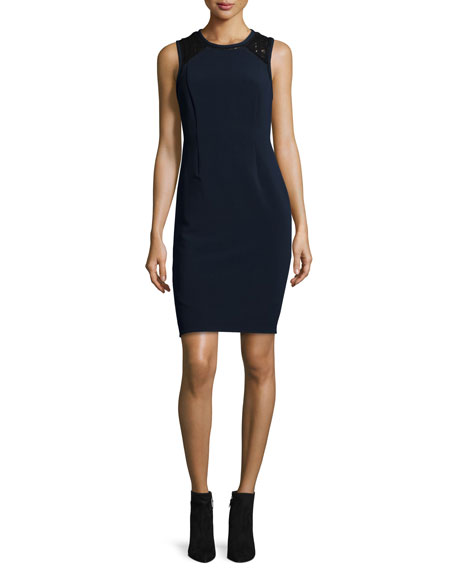 Rebecca Taylor Sleeveless Lace-Trim Shift Dress, Navy